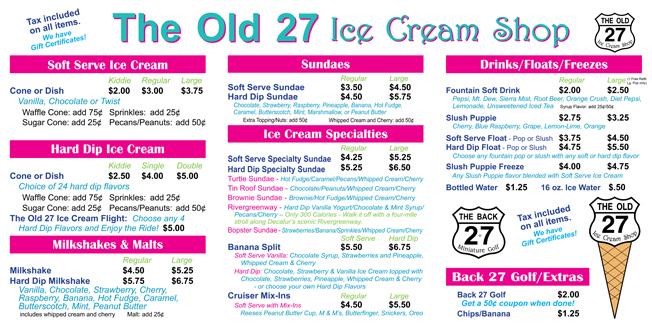 Ice Cream Shop Menu menu